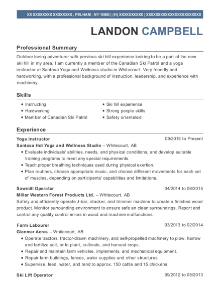 Yoga Instructor resume template New York