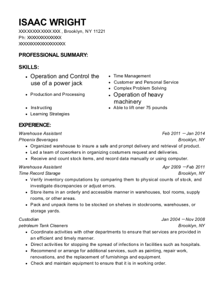 Warehouse Assistant resume example New York