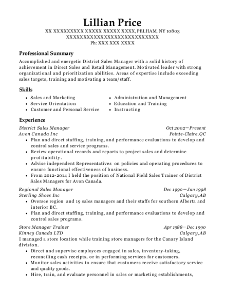 District Sales Manager resume template New York