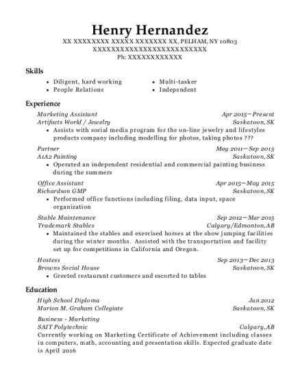 Marketing Assistant resume sample New York