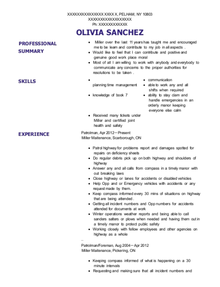 Patrolman resume format New York