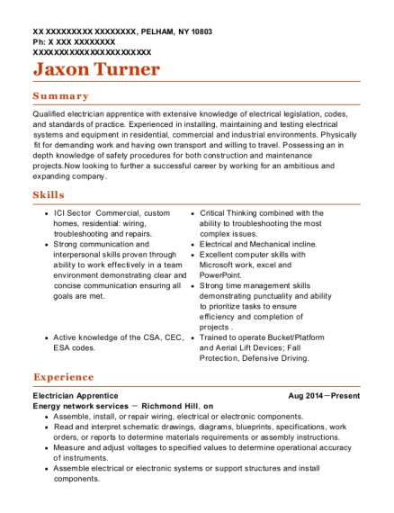 Electrician Apprentice resume example New York