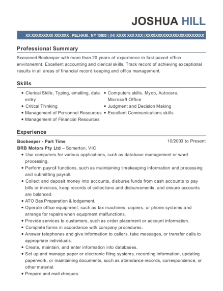 Bookeeper Part Time resume example New York