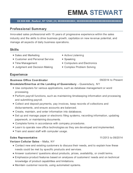 Business Office Coordinator resume template New York