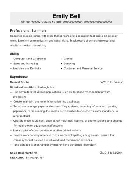 Medical Scribe resume sample New York