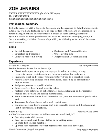 Assistant Manager resume template New York