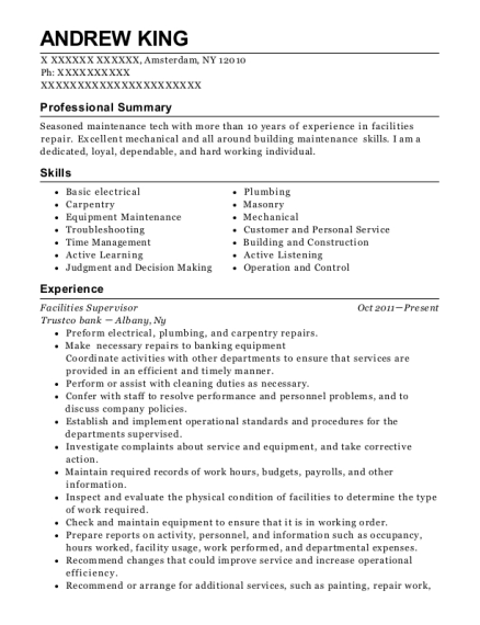 Bentek Facilities Supervisor Resume Sample - San Jose California