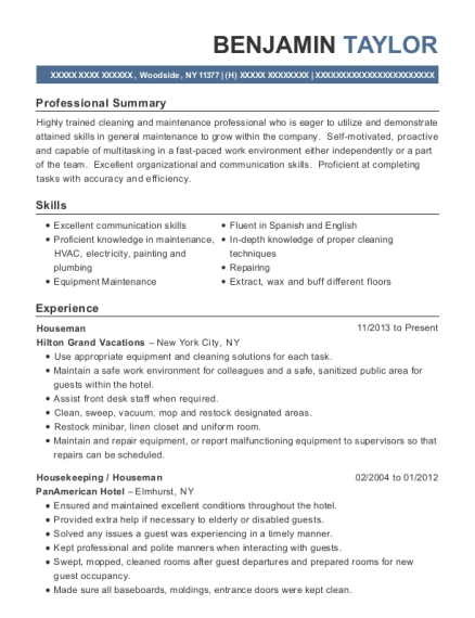 Houseman resume template New York