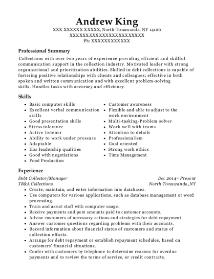 Debt Collector resume format New York