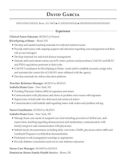 Clinical Nurse Educator resume template New York