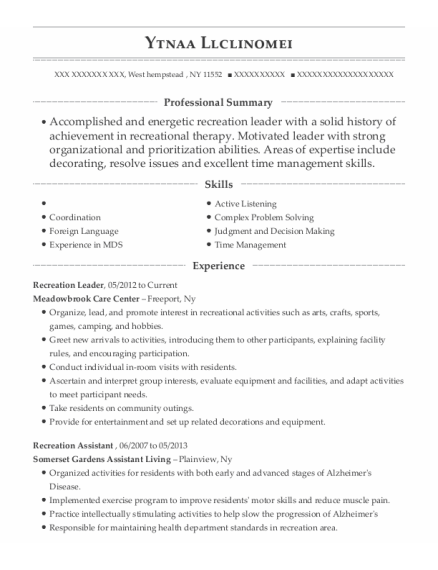Recreation Leader resume format New York