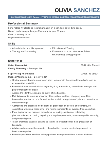 Relief Pharmacist resume sample New York