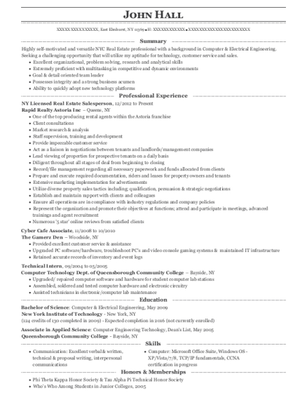 NY Licensed Real Estate Salesperson resume example New York