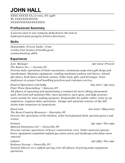 Asst Manager resume example New York