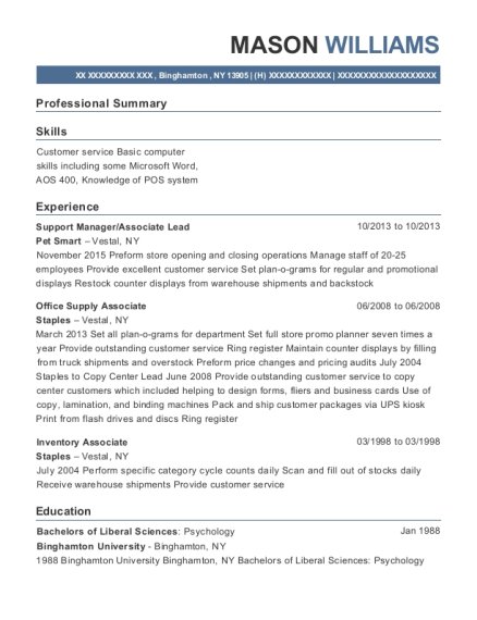 Support Manager resume template New York