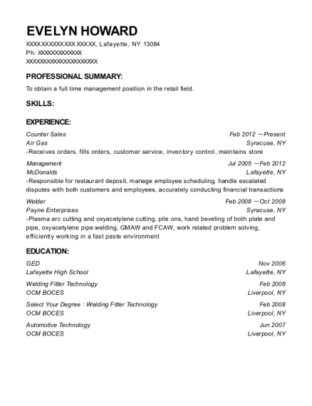 Counter Sales resume template New York
