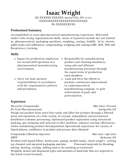 Narcotics Compounder resume template New York