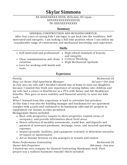 Stay at home Dad Apartment Manager resume example New York