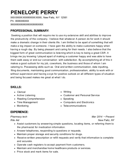 Pharmacy tech resume example New York