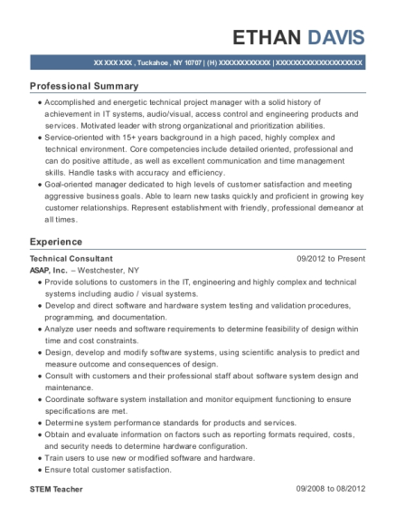 Technical Consultant resume format New York