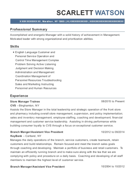 Store Manager Trainee resume template New York