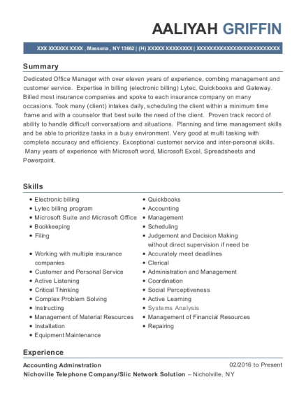 Accounting Adminstration resume example New York
