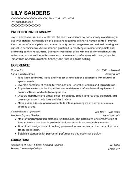 Conductor resume sample New York