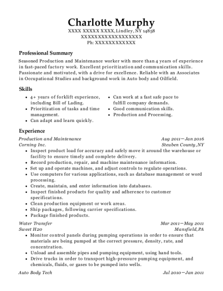 Production and Maintenance resume format New York