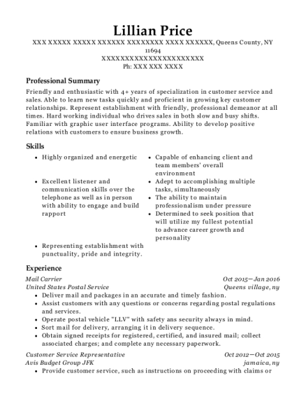 Mail Carrier resume example New York