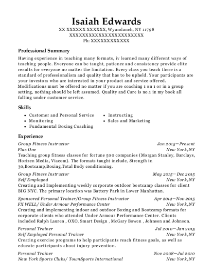 Group Fitness Instructor resume template New York