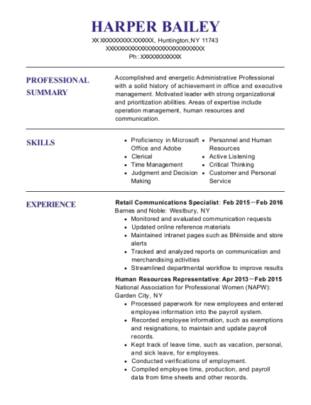 Retail Communications Specialist resume format New York