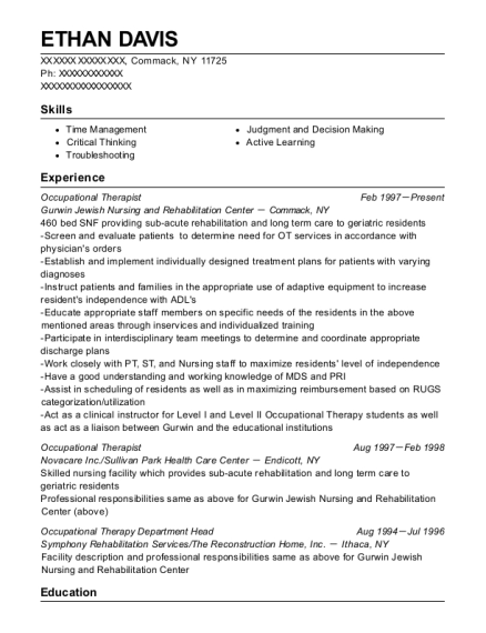 Occupational Therapist resume example New York