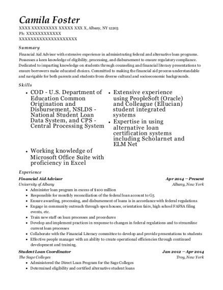 Financial Aid Advisor resume template New York