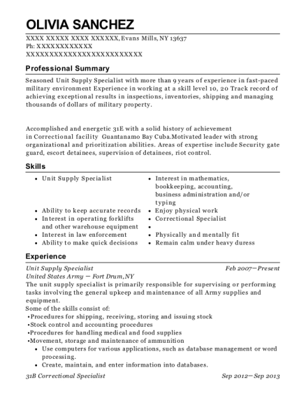 army rank e 5 unit supply specialist resume sample
