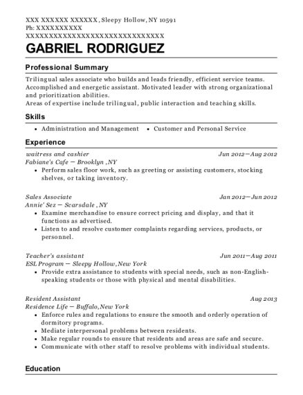 waitress and cashier resume example New York