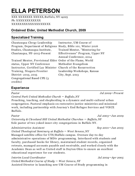 Pastor resume format New York
