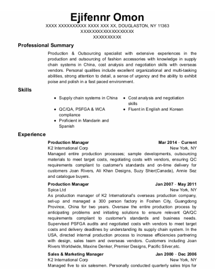 Production Manager resume example New York