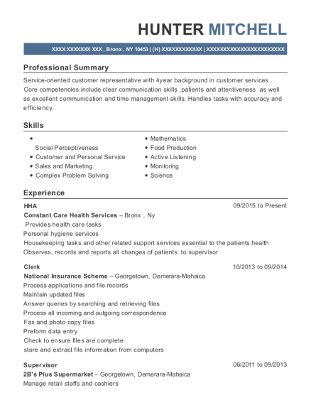HHA resume format New York