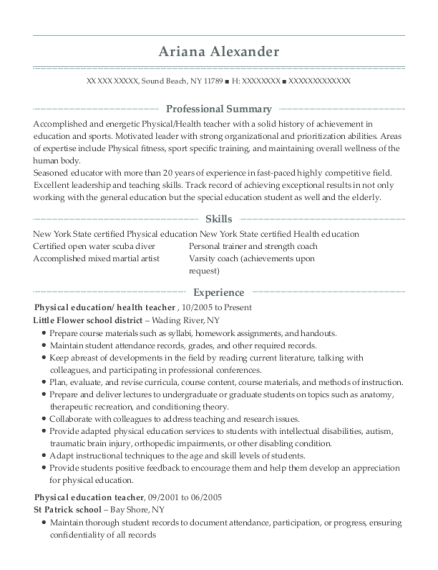 Physical education resume example New York