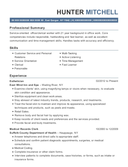 Esthetician resume sample New York
