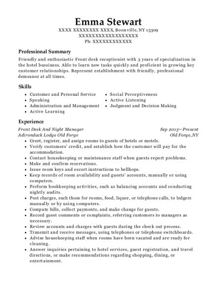 Front Desk And Night Manager resume example New York