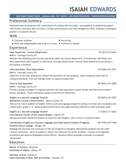 Sales Supervisor resume template New York