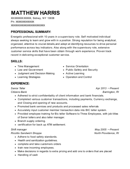 Senior Teller resume template New York