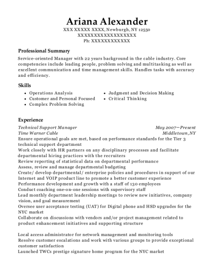 Technical Support Manager resume template New York