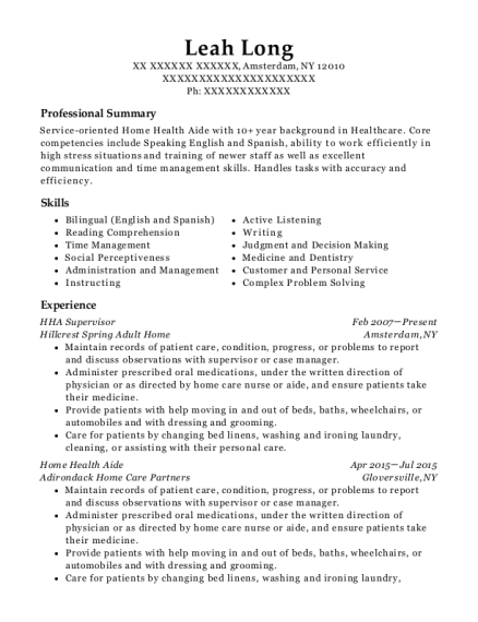 HHA Supervisor resume example New York