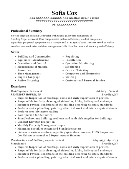 Building Superintendent resume format New York