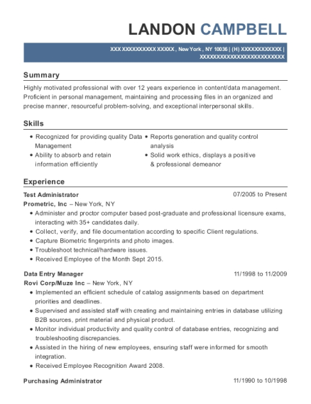 Test Administrator resume example New York