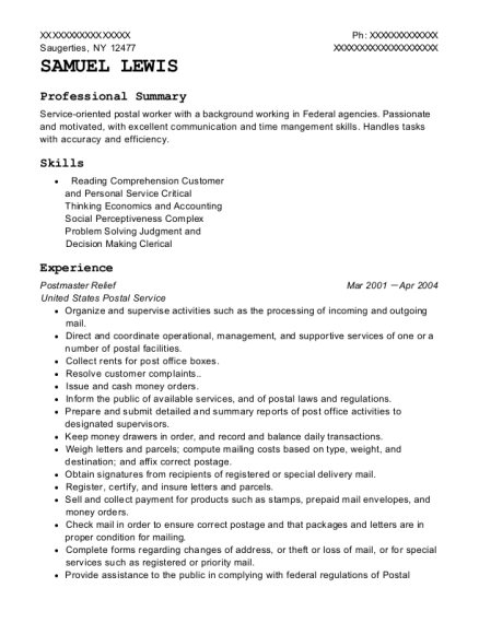 Postmaster Relief resume sample New York