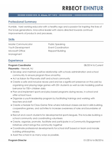 Program Director resume sample New York