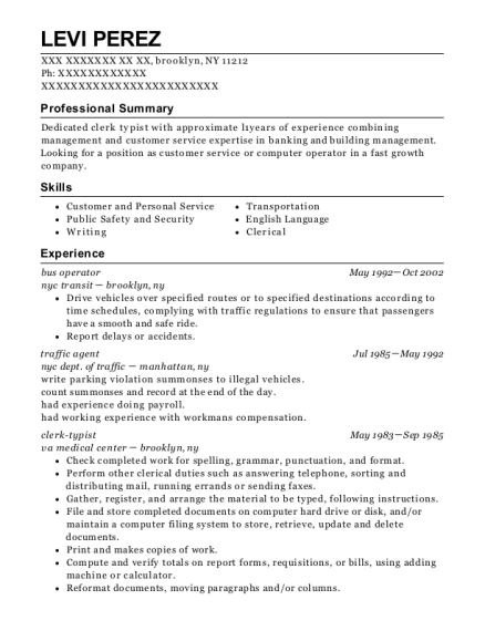 nypd traffic agent resume sample